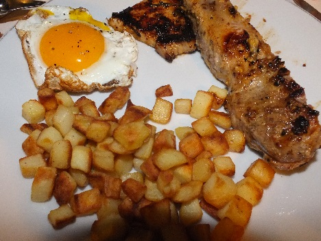 Assiette bistot porc à la plancha marinade moutarde miel ail