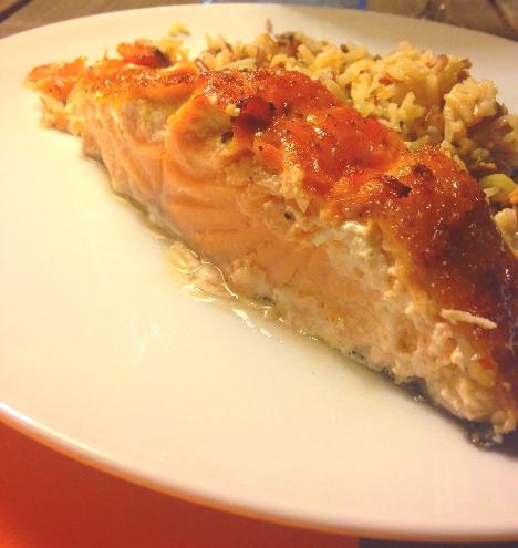 Assiette saumon avec riz
